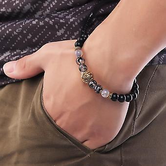 خمر Agate الخرز سبيكة الأسد رئيس مطرز سوار مجوهرات عرقية للرجال
