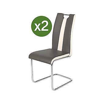 Juego de 2 sillas - Jade-quot; - Gris/Blanco