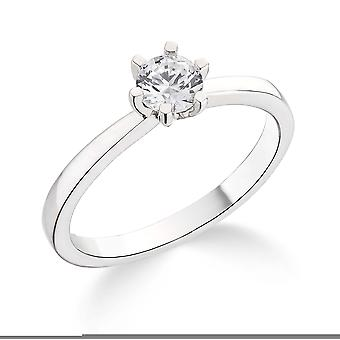 9K White Gold 6 Claw Tiffany Style Setting 0.30Ct Certified Solitaire Diamond Engagement Ring