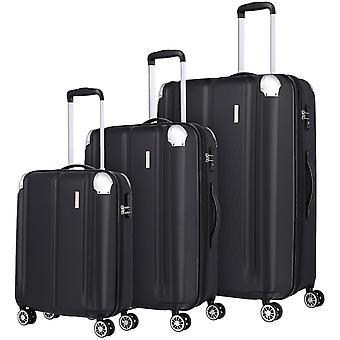 travelite City Koffer Set 3-teilig L/M/S 4 Rollen erweiterbar S-M-L, Schwarz