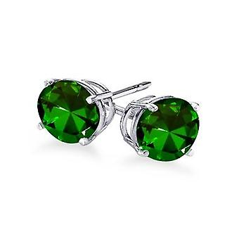 Boucles d'oreilles 4-Prong Round Cut Green Emerald Stud 1.00 ct. tw.