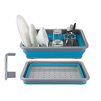 Summit Pop Dish Drainer with Draining System Blue Plastic Camping Plates Rack - Blue / Grey