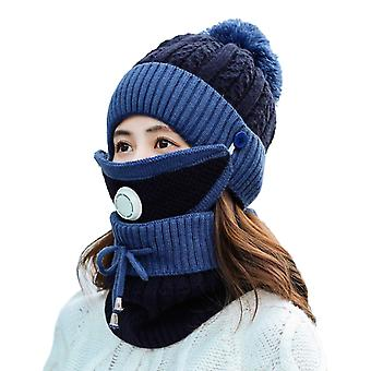 Winter Scarf Mask Set With Breathing Valve Thickened Knitted Hat