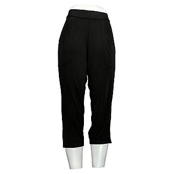 Lisa Rinna Collection Women's Petite Pants Banded Bottom Crop Black A287832