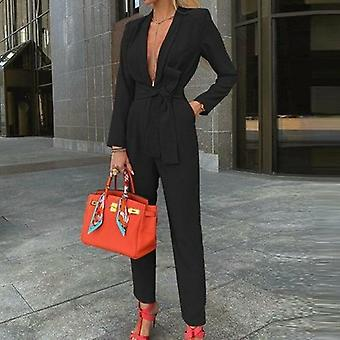 V Neck Jumpsuit Party Romperlong Sleeve Knot Side