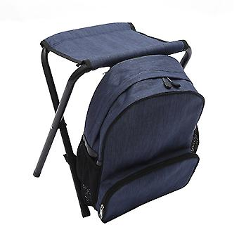 Dark Blue OxfordCloth SteelPipe Multifunction Detachable Backpack Folding Chair