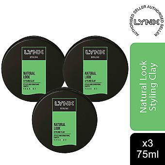 Lynx Hair Styling Natural Look Styling Clay 75ml, 3 Pack