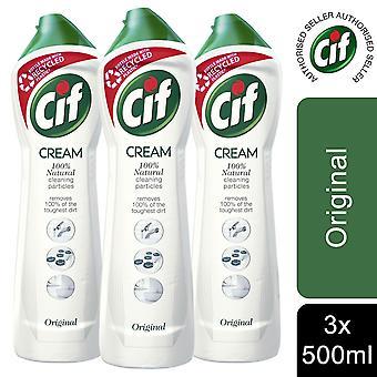 3pk Cif 100% Natural Cleaning Particles Original Creams, 500ml
