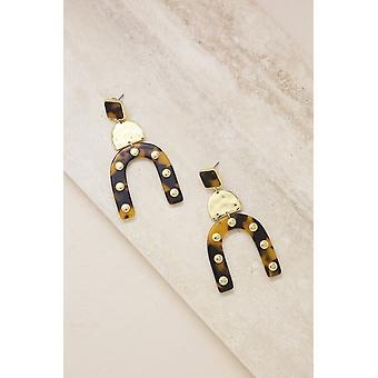 Lady Luck Schildpad Hars 18k Gold Plated Oorbellen