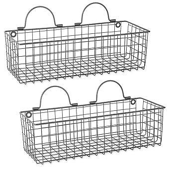Dii alambre de la cesta de la pared (conjunto de 2) gris medio