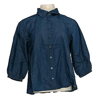 Joan Rivers Women's Top Lightweight Denim with Gathered Back Blue A378308