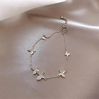 Crystal Butterfly Hand  Sterling Silver Wedding Bracelet