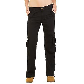 Lightweight Stretch Cargo Pants Wide Leg - Black