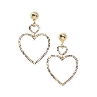 Double Heart Crystal Drop 18k guldpläterade örhängen