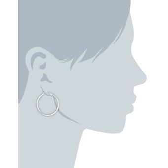 """Pendientes de aro de tubo redondo de plata de ley (2 mm, 1.1"""" diámetro), plata, tamaño 1.1"""