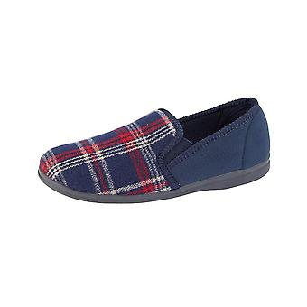 Sleepers 'Jim' Check Velour Slippers