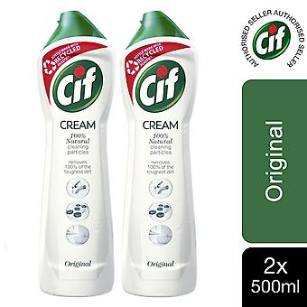 2 Pack of Cif 100% Natural Cleaning Particles Original Cream, 500ml