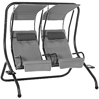 Outsunny Canopy Swing Modern Outdoor Relax Chairs w/ 2 Separate Chairs, Headrests and Removable Shade Canopy, Grey