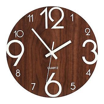 Luminous Wooden Silent Non-ticking Wall Clock With Night Light