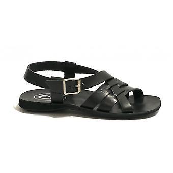 Men's Shoes Elite Sandal Bottom Bands Leather Tread Black Color Us18el14