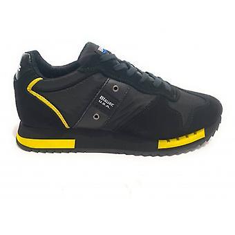 Shoes Blauer Sneaker Running Mod. Queens In Suede/ Black Fabric/ Yellow U21bu04