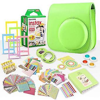 Fujifilm instax mini película instantánea + fujifilm instax lime green paquete accesorio de 168 piezas con caja de cámara, lente selfie, álbum de fotos, ps38151
