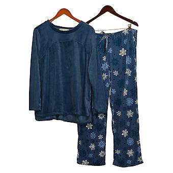 Carole Hochman Women's Silky Velour Fleece Pajama Set Blue A368290