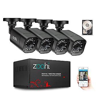 Cctv kamerový systém 1080p Bezpečnostná kamera Dvr Kit / video monitorovací systém Hdd