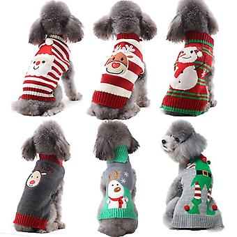 Xmas Striped Dog Sweater Pet Reindeer Knit Hoodies Clothes