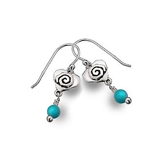 Boucles d'oreilles Sterling Silver - Celtic Heart + Scroll + Synthetic / Turquoise