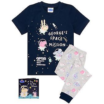 Peppa Pig George Pyjamas Pojille & tytöille | Kids Space Mission T-paita ja housut Pjs Kanssa Story Book | Lasten TV-ohjelmien kauppatavarat