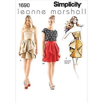 البساطة نمط الخياطة 1690 يفتقد تنورة اللباس أعلى حجم 12-20 P5