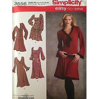 enkelhet sy mønster 3556 damer savner a-linje kjole størrelse 12-20 uncut
