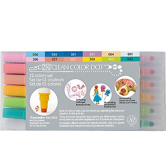 Kuretake Zig Clean Colour Dot Marker Pens - 12 Colour Set