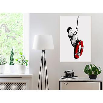 Painting - Inspired Banksy: Boy on Rope (1 Part) Vertical60x90