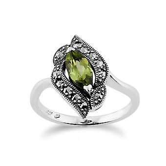 Gemondo Sterling Silver 0.52ct Peridot & 0.19ct Marcasite Art Nouveau Style Ring
