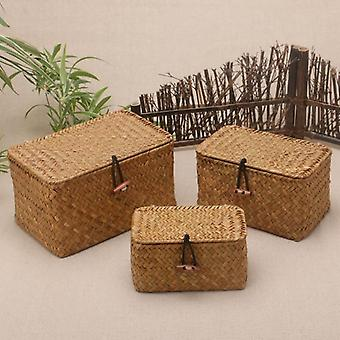 Eco friendly rattan weave sundries storage box with lid