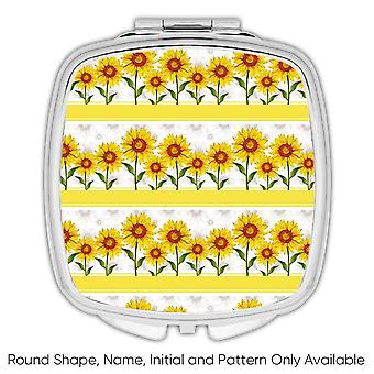 Gift Compact Mirror: Rustic Sunflowers Row Pattern