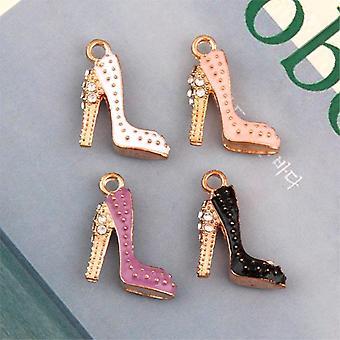 S Enamels High Heels Charms Making Women Shoe Pendant Necklaces