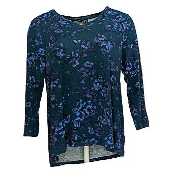 H By Halston Women's Top Floral Printed 3/4 Sleeve V-Neck Green A366744
