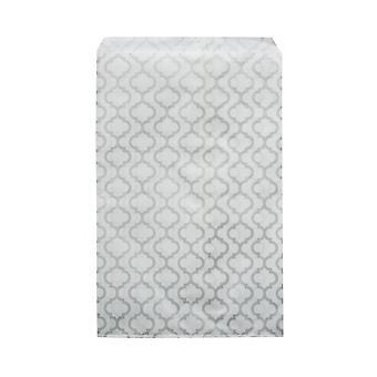 Paperi lahjapussit, koruille ja käsitöille 7 x 5 tuumaa, valkoinen hopeisella marokkolaisella kuviolla, 100 kappaletta