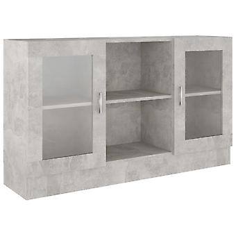 vidaXL näyttökaappi betoni harmaa 120x30,5x70 cm lastulevy