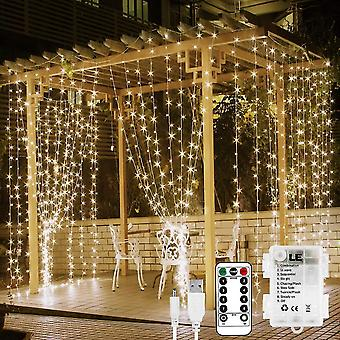 Curtain string lights for indoor outdoor with remote 300 led dt4382