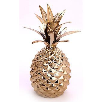 Guld metall ananas prydnad 22cm