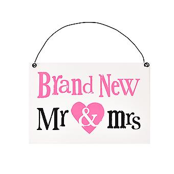 Brightside Brand New Mr & Mrs Hanging Plaque