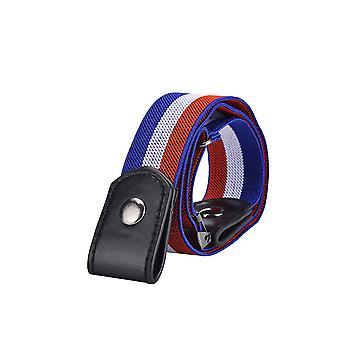 Gesp-vrije riem onzichtbare elastische taille riemen verstelbare stretch riem voor Jean Broek (blauw wit