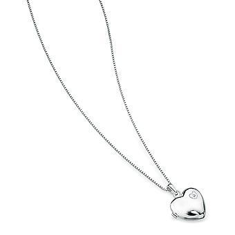D pentru Diamond Large Heart Locket Pandantiv pe un lanț de lungime 35.5cm