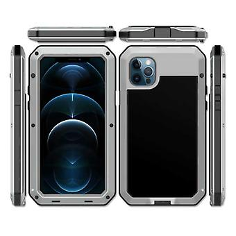 R-JUST iPhone 12 Pro 360° Full Body Case Tank Cover + Screen Protector - Shockproof Cover Metal Silver