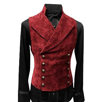 Men's Double Reasted Button Velvet Solid Color Stand-up Collar Vest