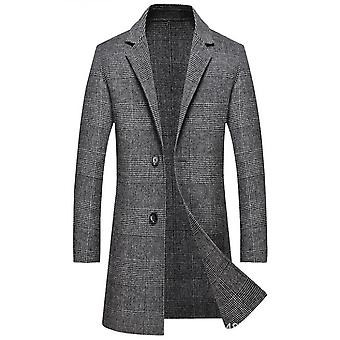 Men's Casual Notch Lapel Single Breasted Plaid Mid Long Trench Pea Coat